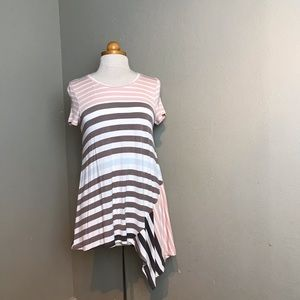 Anthro little yellow button stripe top small ee17